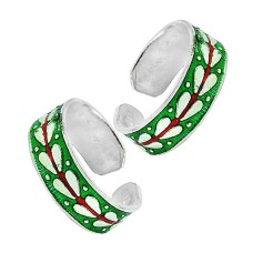 925 Silver Jewelry Ethnic Inlay Handmade Toe Rings