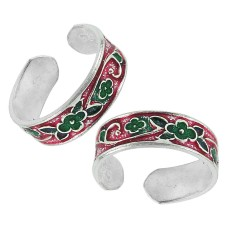 Indian Sterling Silver Jewelry Fashion Inlay Handmade Toe Rings Wholesaler India