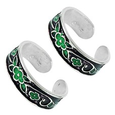 Sterling Silver Jewelry Ethnic Inlay Handmade Toe Rings