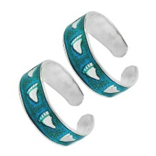 925 Sterling Silver Jewelry Traditional Inlay Handmade Toe Rings