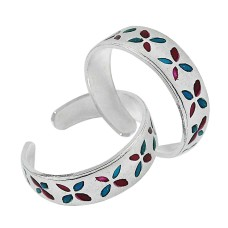925 Sterling Silver Antique Jewelry Traditional Inlay Handmade Toe Rings