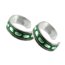 Sterling Silver Fashion Jewelry Charming Inlay Handmade Toe Rings