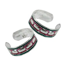 Indian Sterling Silver Jewelry Ethnic Inlay Handmade Toe Rings