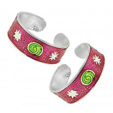 Sterling Silver Jewelry High Polish Inlay Handmade Toe Rings