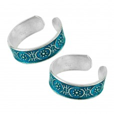 925 Sterling Silver Fashion Jewelry Ethnic Inlay Handmade Toe Rings Supplier