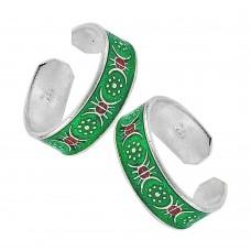 925 Sterling Silver Jewelry Beautiful Inlay Handmade Toe Rings Proveedor