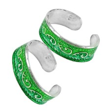925 Silver Jewelry Traditional Inlay Handmade Toe Rings Exporter