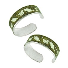 925 Sterling Silver Indian Jewelry Traditional Inlay Handmade Toe Rings