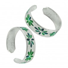 925 Sterling Silver Gemstone Jewelry Charming Inlay Handmade Toe Rings Fournisseur