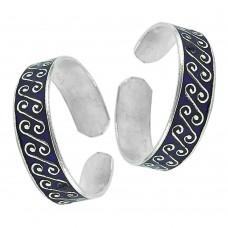 925 Silver Jewelry Traditional Inlay Handmade Toe Rings Wholesaler India