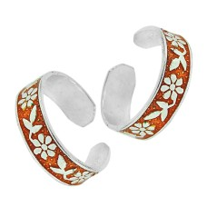 925 Silver Jewelry Ethnic Inlay Handmade Toe Rings Großhandel