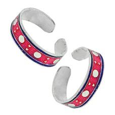 925 Silver Jewelry Beautiful Inlay Handmade Toe Rings Supplier India