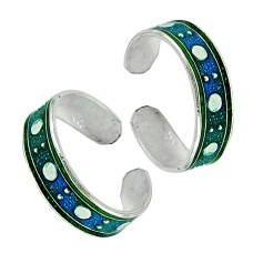 925 Sterling Silver Jewelry Rare Inlay Handmade Toe Rings