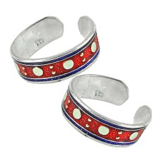925 Sterling Silver Fashion Jewelry Trendy Inlay Handmade Toe Rings