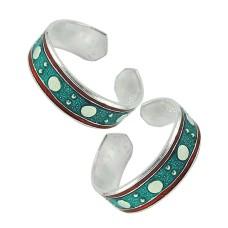 925 Sterling Silver Gemstone Jewelry Charming Inlay Handmade Toe Rings