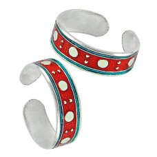 925 Sterling Silver Vintage Jewelry Fashion Inlay Handmade Toe Rings