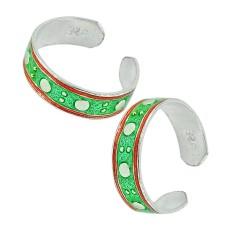 925 Sterling Silver Indian Jewelry Beautiful Inlay Handmade Toe Rings