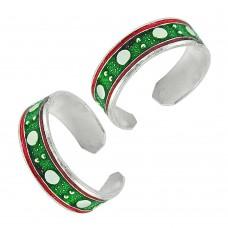 925 Sterling Silver Gemstone Jewelry Trendy Inlay Handmade Toe Rings