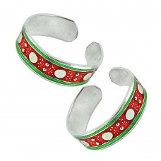 Indian Sterling Silver Jewelry Charming Inlay Handmade Toe Rings