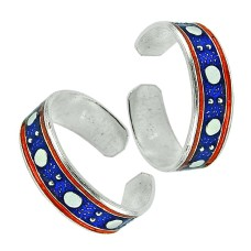 925 Sterling Silver Jewelry Fashion Inlay Handmade Toe Rings