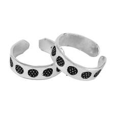 Artisan !! 925 Sterling Silver Enamel Toe Rings