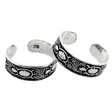 Two Tones Royal Dark! 925 Sterling Silver Toe Rings