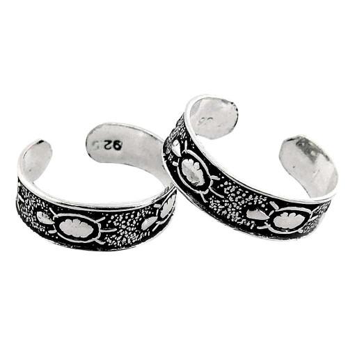 Two Tones Royal Dark! 925 Sterling Silver Toe Rings
