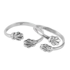 Draditions Solid 925 Sterling Silver Flower Toe Rings